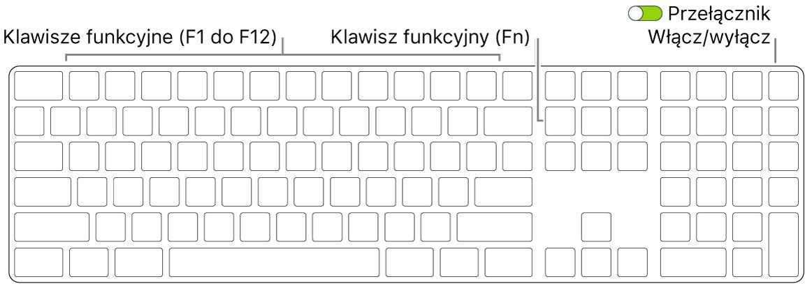 Klawiatura Magic Keyboard zklawiszem Function (Fn) wlewym dolnym rogu oraz przełącznikiem zasilania wprawym górnym rogu.