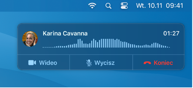 Fragment ekranu Maca zwidocznym powiadomieniem opołączeniu.