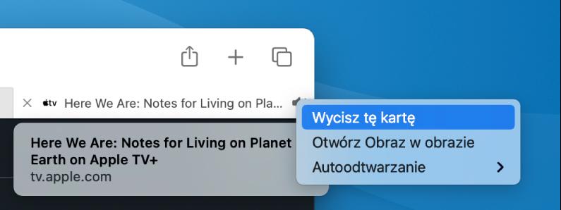 Menu podręczne ikony audio, zawierające polecenia Wycisz tę kartę, Otwórz obraz wobrazie oraz Autoodtwarzanie.