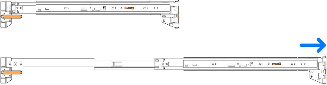 Kits de montagem de trilho retraídos e estendidos.