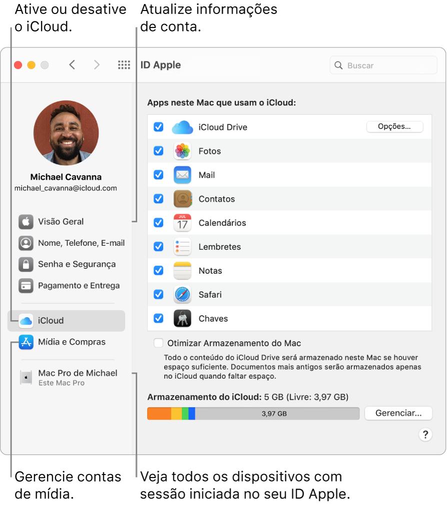 O painel ID Apple nas Preferências do Sistema. Clique em um item na barra lateral para atualizar suas informações de conta, ativar ou desativar o iCloud, gerenciar contas de mídia e ver todos os dispositivos com uma sessão iniciada com o seu ID Apple.
