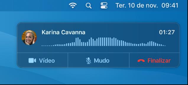 Parte da tela de um Mac mostrando a janela de notificação de ligação.