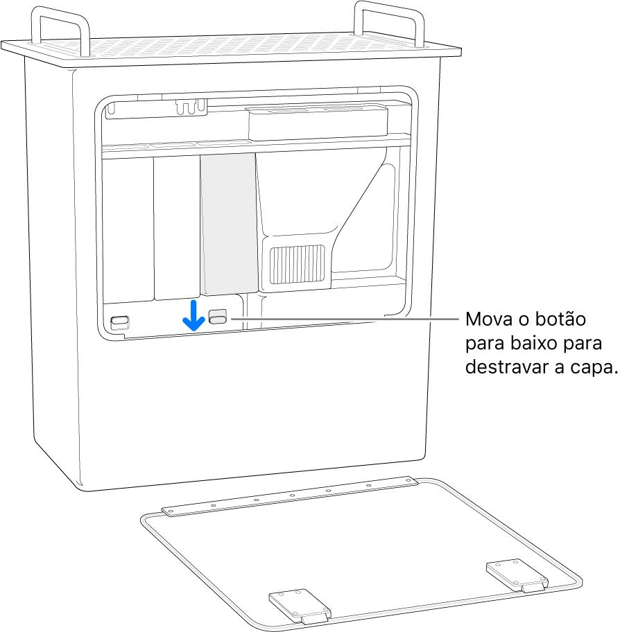 Mac Pro apoiado sobre a parte traseira, destacando o interruptor que destrava a capa do DIMM.
