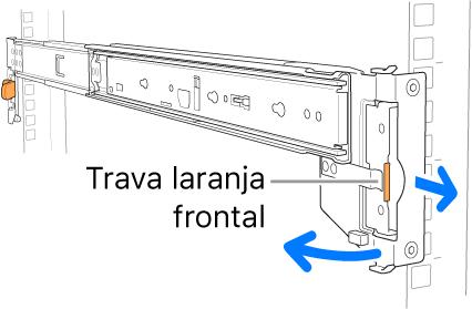 Um kit de montagem de trilho ilustrando a localização da trava dianteira.