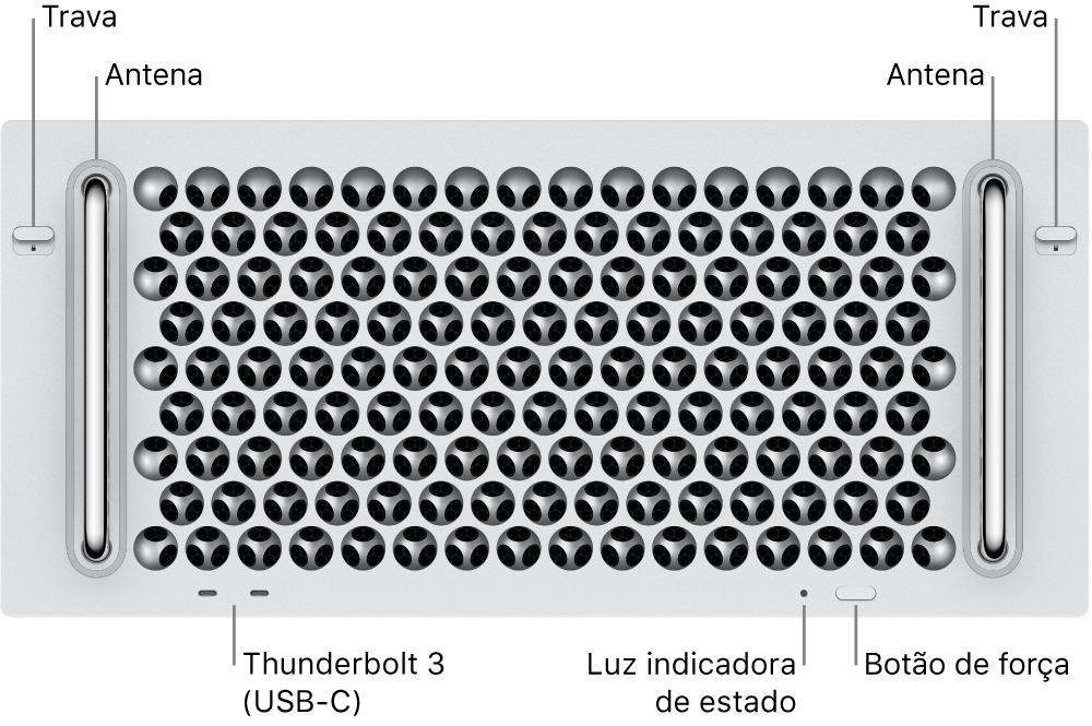 Frente do Mac Pro mostrando duas portas Thunderbolt 3 (USB-C), uma luz indicadora do sistema, botão de força e antena.