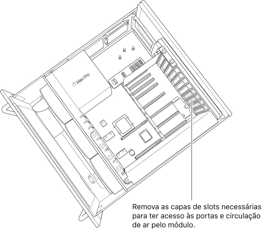 Remova qualquer capa de slot necessária para ter acesso à porta e circulação de ar através do módulo.