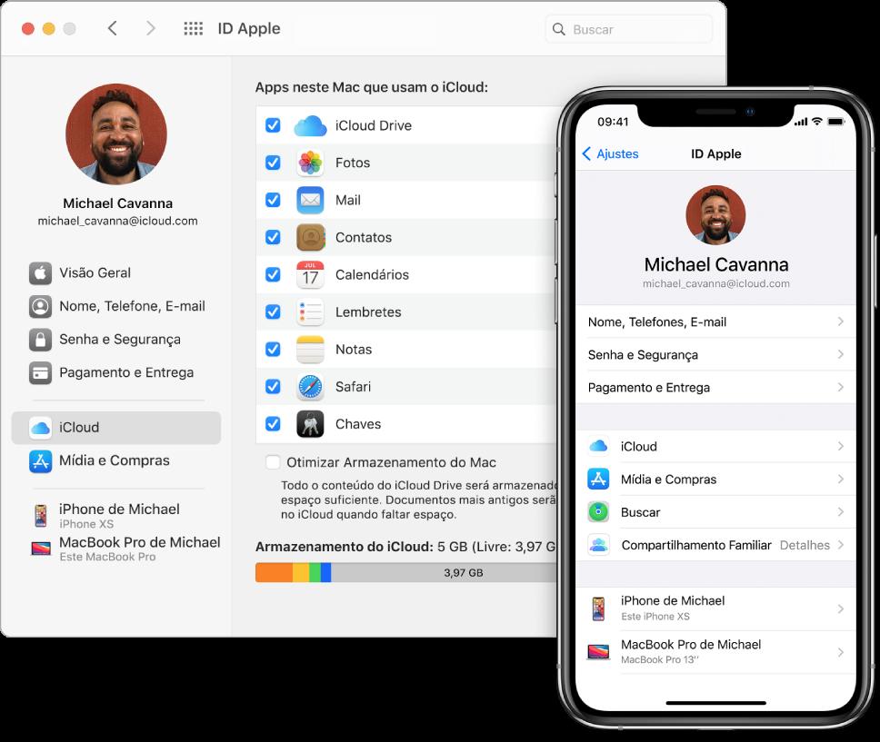 Ajustes do iCloud em um iPhone e a janela do iCloud no Mac.