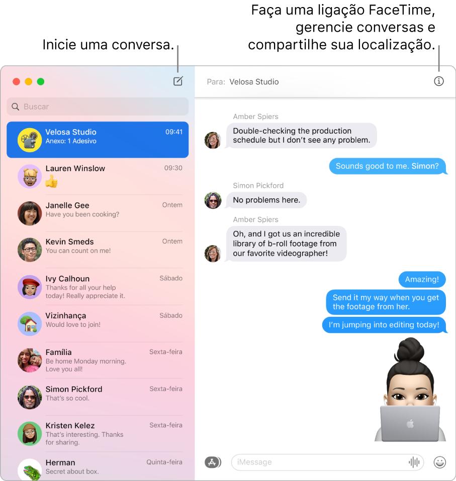 Uma janela do app Mensagens mostrando como iniciar uma conversa e como iniciar uma ligação FaceTime.