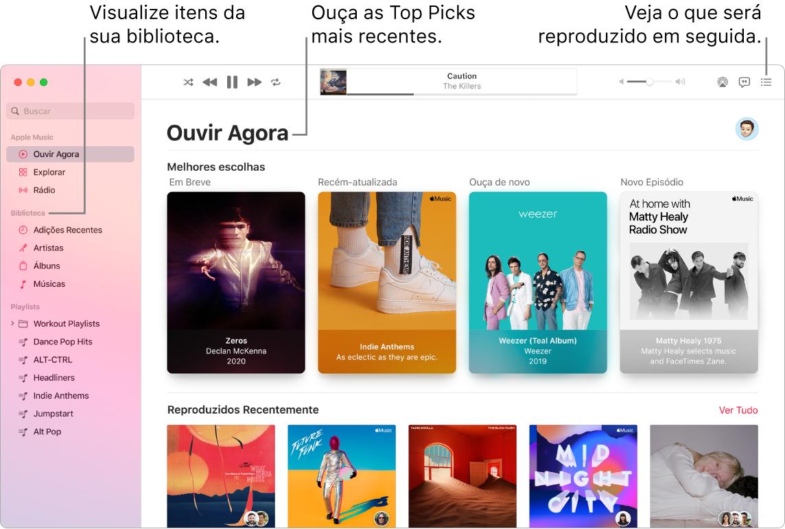 Uma janela do app Música mostrando como visualizar a biblioteca, ouvir o Apple Music e ver o que vai tocar a seguir.