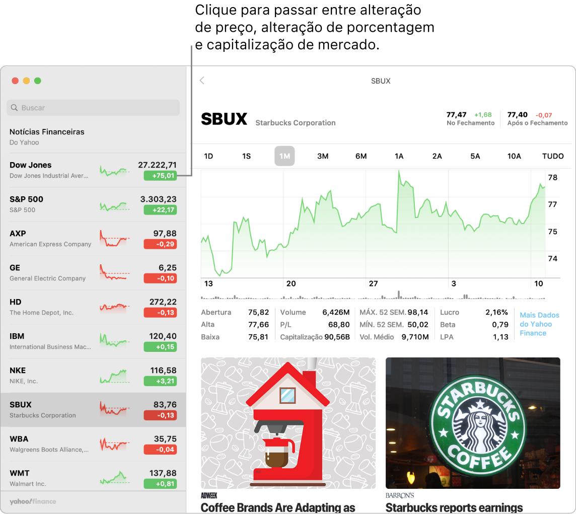 Um tela do app Bolsa mostrando informações e artigos sobre a ação selecionada.