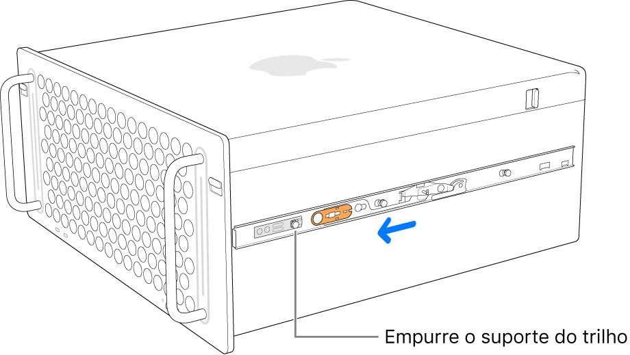 Mac Pro com um trilho deslizando para frente e se encaixando.