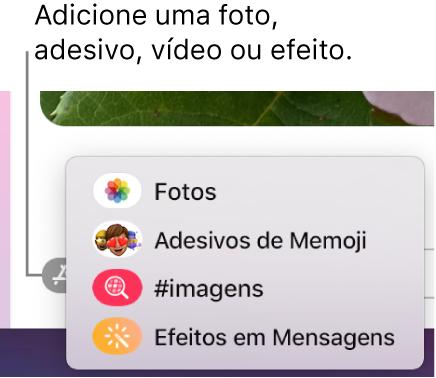 Menu Apps com opções para mostrar fotos, adesivos de Memoji, GIFs e efeitos em mensagens.