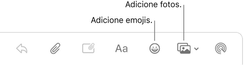Uma janela de criação de mensagem mostrando os botões de emoji e de fotos.