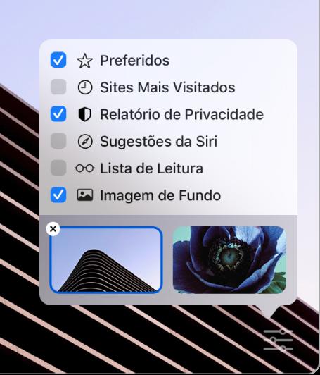 """Menu local """"Personalizar o Safari"""" com caixas de seleção para Favoritos, Mais Visitados, Relatório de Privacidade, Sugestões da Siri, Lista de Leitura e Imagem de Fundo."""