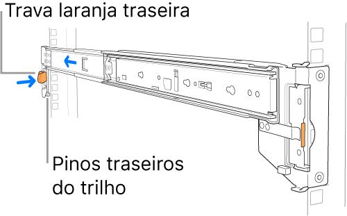 Um kit de montagem de trilho ilustrando a localização dos pinos traseiros do trilho e trava.