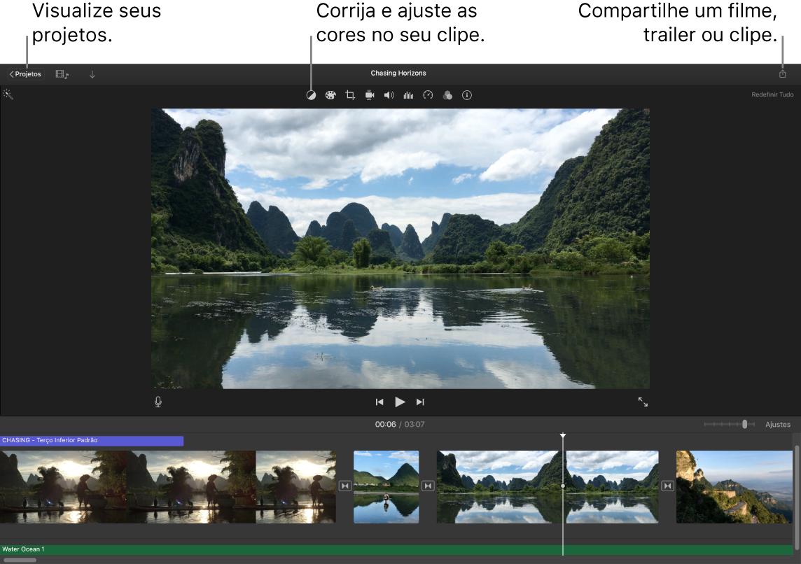 Uma janela do iMovie mostrando botões para visualizar projetos, corrigir e ajustar cores e compartilhar o filme, trailer ou clipe de vídeo.