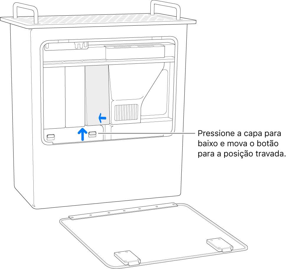 Mac Pro apoiado sobre a parte traseira, mostrando como mover o interruptor do DIMM para a posição travada.