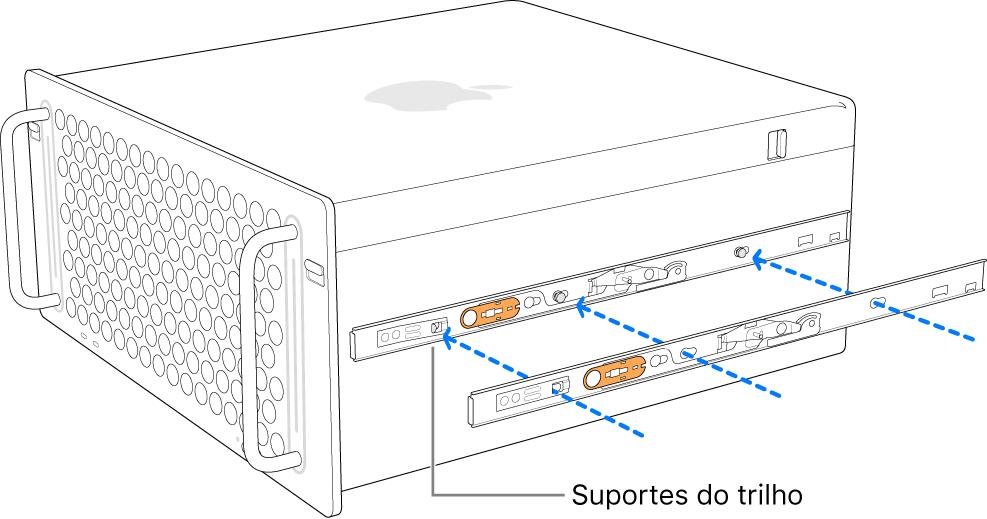 Mac Pro com um trilho interno sendo fixado na lateral.