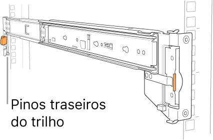 Kit de montagem de trilho ilustrando a localização dos pinos traseiros do trilho.