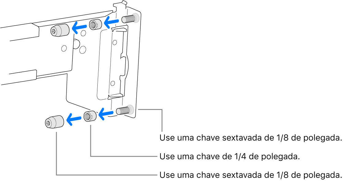 Um kit de montagem para trilhos que se encaixa em um rack com furos rosqueados.