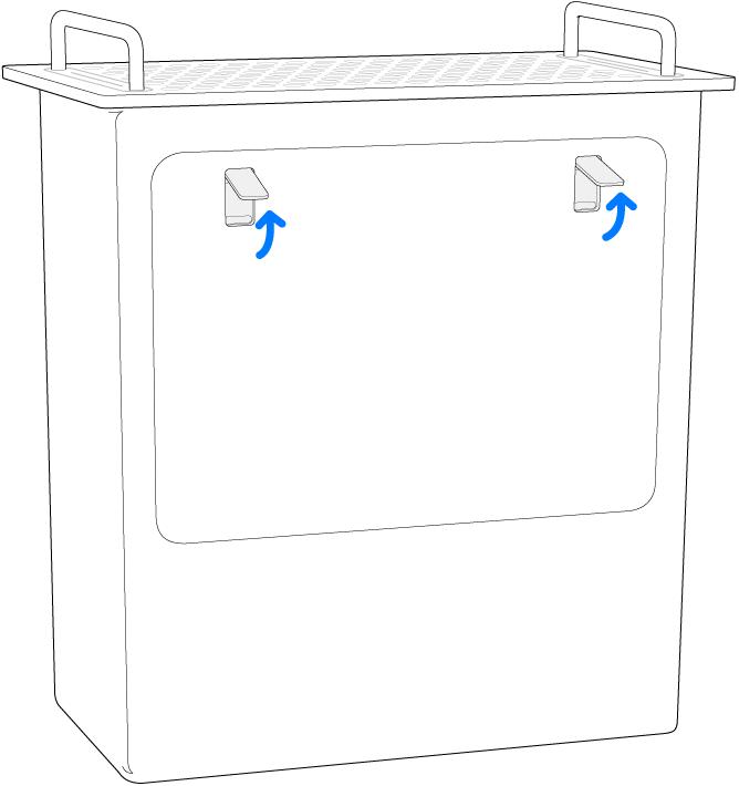 Mac Pro apoiado sobre a parte traseira, destacando as travas na tampa lateral.