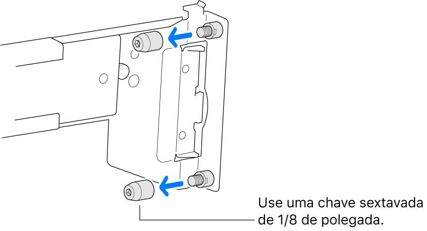 Um kit de montagem para trilhos que se encaixa em um rack com furos redondos.