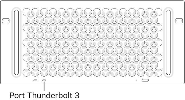 Partea de sus a Mac Pro-ului, indicând portul Thunderbolt 3 corect pentru utilizare.