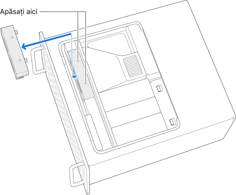 MacPro așezat pe o parte și arătând unde trebuie apăsat pentru scoaterea capacului de la SSD.