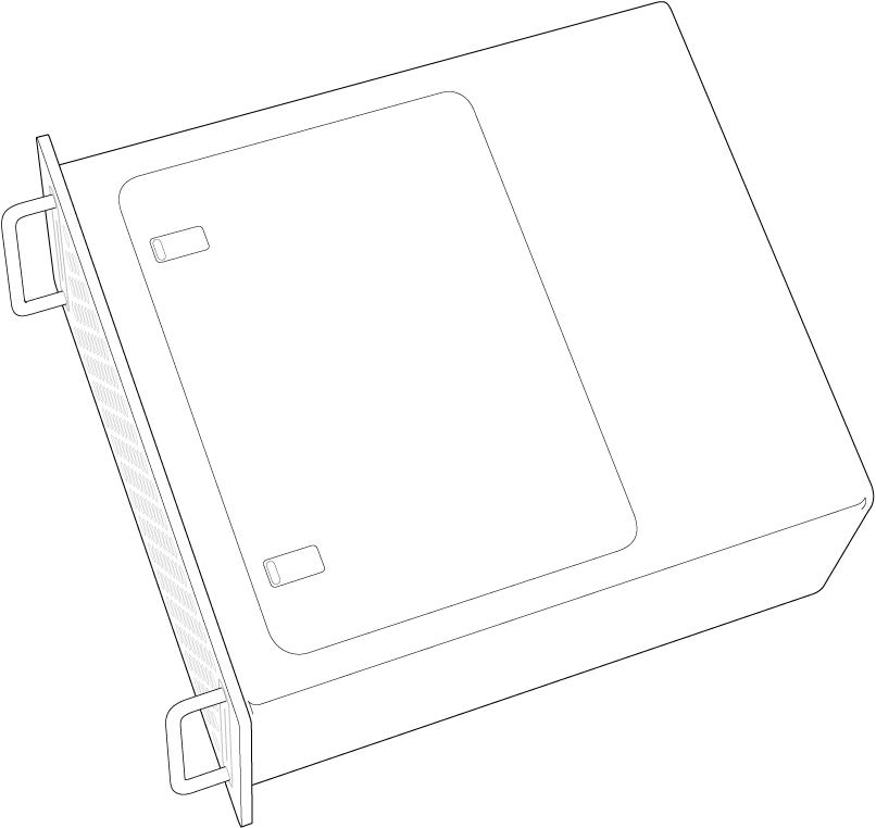 MacPro așezat pe o parte, evidențiind panoul de acces.