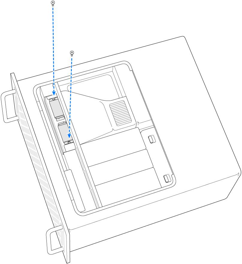 Mac Pro așezat pe o parte și arătând instalarea a două șuruburi.
