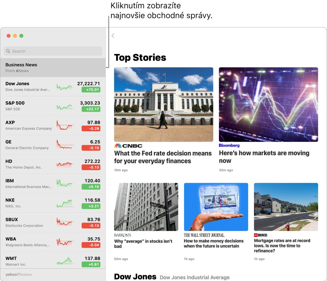 Dashboard aplikácie Akcie zobrazujúci trhové ceny vzozname sledovaných akcií spolu so súvisiacimi najlepšími článkami.