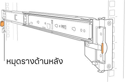 ชิ้นส่วนประกอบรางที่แสดงตำแหน่งของหมุดรางด้านหลัง