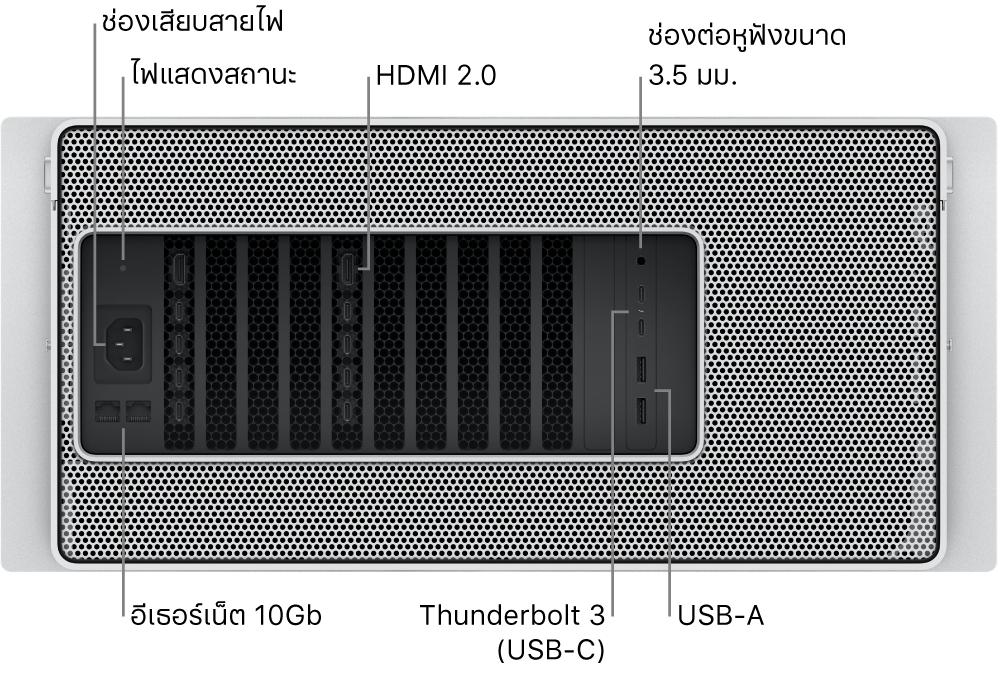 มุมมองด้านหลังของ Mac Pro ซึ่งแสดงช่องเสียบสายไฟ, ไฟแสดงสถานะ, พอร์ต HDMI 2.0 สองพอร์ต, ช่องต่อหูฟังขนาด 3.5 มม., พอร์ต 10 อีเธอร์เน็ตกิกะบิต, พอร์ต Thunderbolt3 (USB-C) สองพอร์ต และพอร์ต USB-A สองพอร์ต