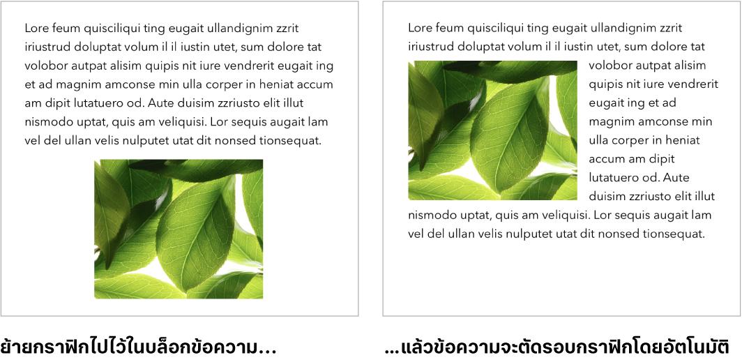 หน้าต่าง Pages ที่แสดงวิธีที่ข้อความจัดเรียงอยู่รอบๆ กราฟิก
