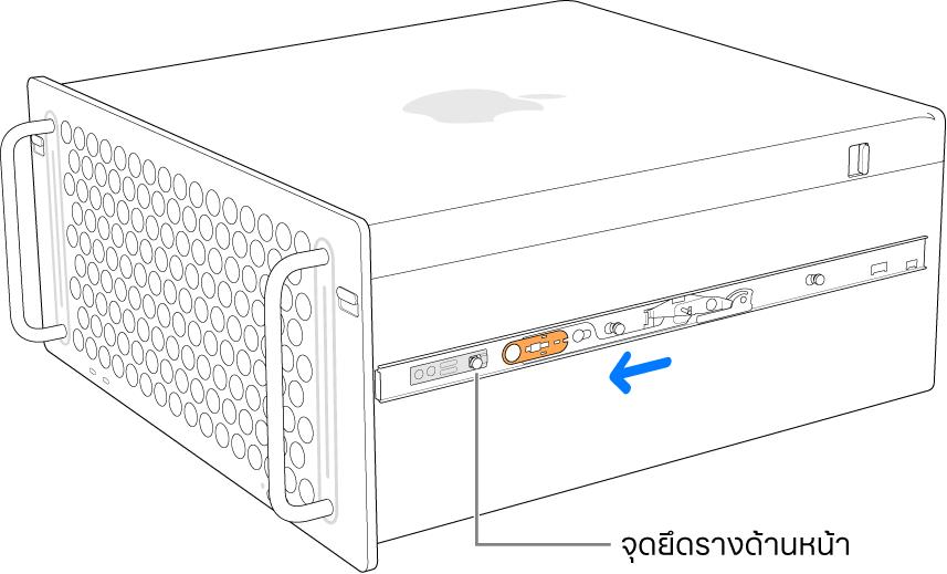 Mac Pro ที่มีรางเลื่อนไปข้างหน้าและล็อคกลับเข้าที่