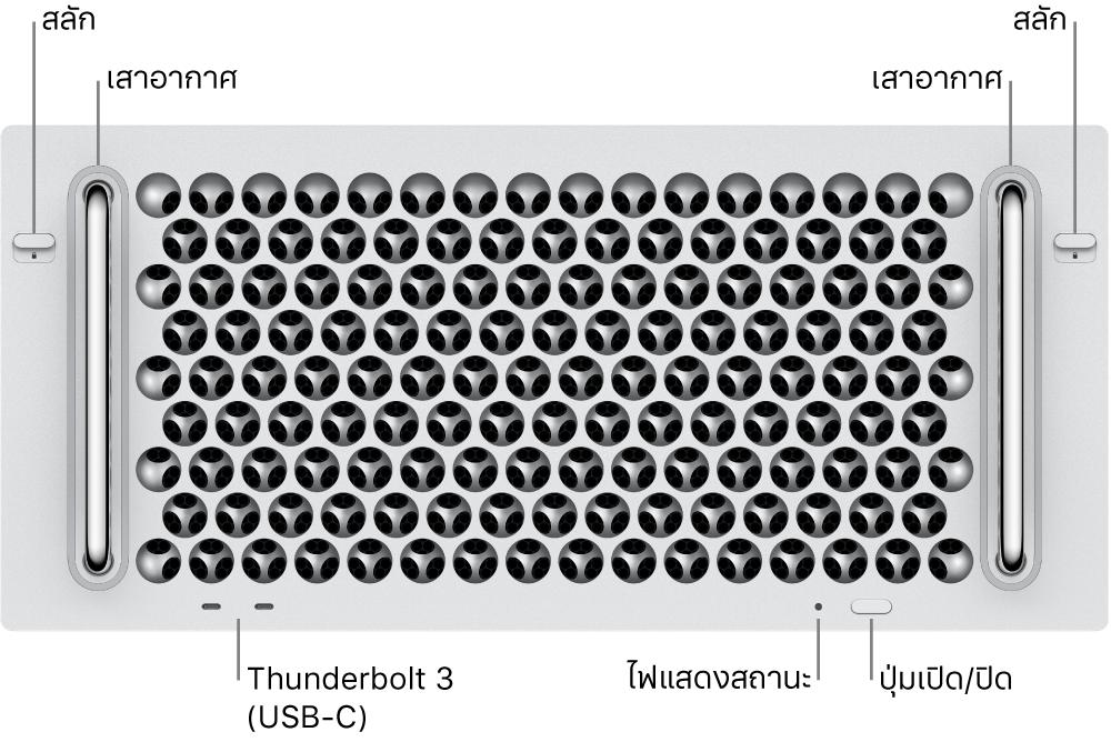 ด้านหน้าของ Mac Pro ที่แสดงพอร์ต Thunderbolt 3 (USB-C) สองพอร์ต, ไฟแสดงสถานะระบบ, กำลังไฟ, ปุ่ม และเสาอากาศ
