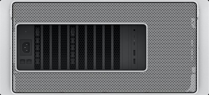 Mac Pro kapılarının ve bağlayıcılarının yakından görüntüsü.