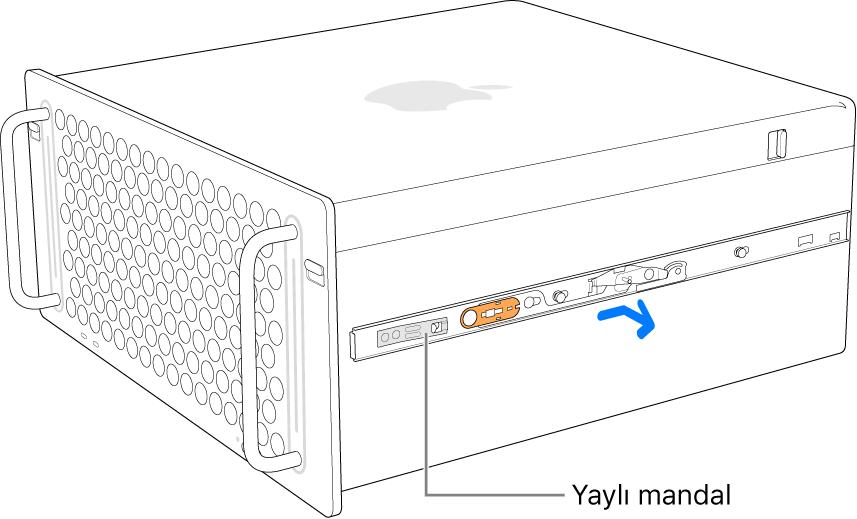 Bir ray Mac Pro'nun yanından ayrılıyor.
