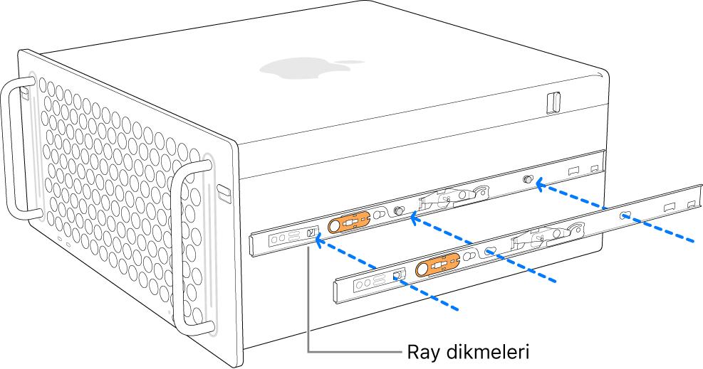 İç rayın kenarına takıldığı Mac Pro.