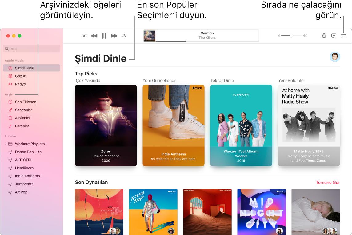 Arşivinizi görüntülemeyi, Apple Music'i dinlemeyi ve sıradaki parçaya bakmayı gösteren bir Müzik uygulaması penceresi.