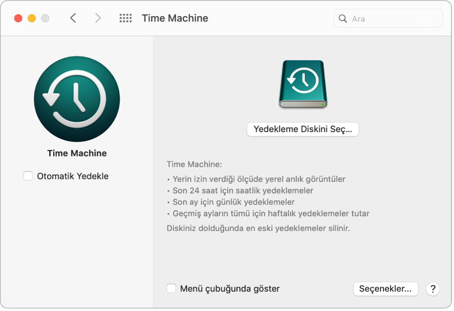 Time Machine yedekleme penceresi.