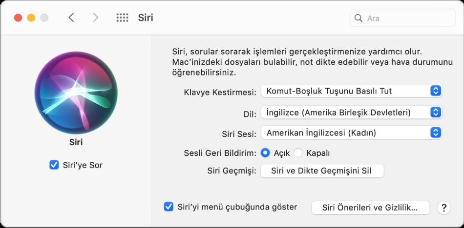 Sol tarafta Siri'yi Etkinleştir seçili halde olan ve sağ tarafta çeşitli Siri'yi özelleştirme seçenekleri bulunan Siri tercihleri penceresi.