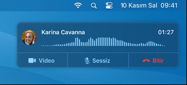 Mac ekranının arama bildirimi penceresini gösteren bir kısmı.