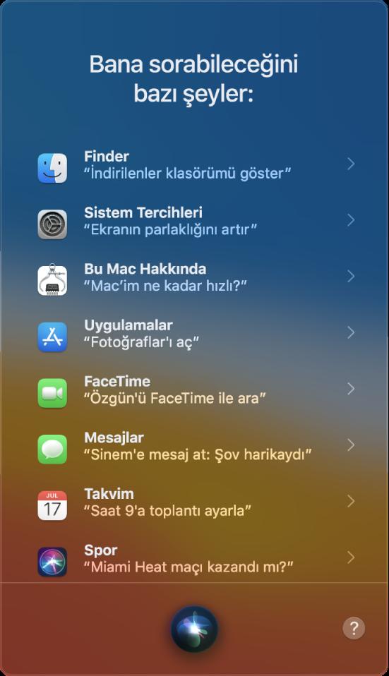 """""""Bana sorabileceğiniz bazı şeyler"""" başlığı ile """"Galatasaray maçı kazandı mı?"""" gibi örnek Siri sorgularını gösteren bir Siri penceresi."""