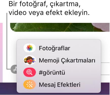 Fotoğrafları, Memoji çıkartmalarını, GIF'leri ve mesaj efektlerini gösterme seçenekleri ile Uygulamalar menüsü.