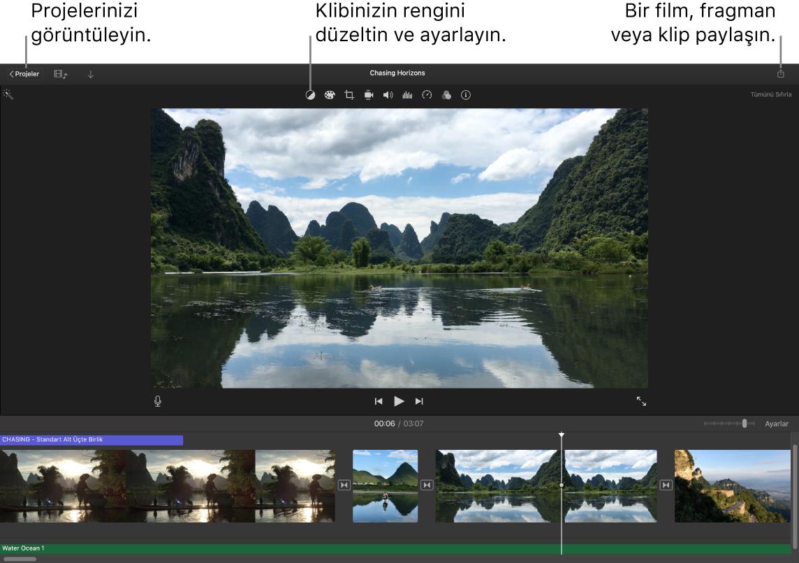 Projeleri görüntüleme, renk düzeltme ve ayarlama ve filminizi, fragmanınızı veya film klibinizi paylaşma düğmelerini gösteren bir iMovie penceresi.