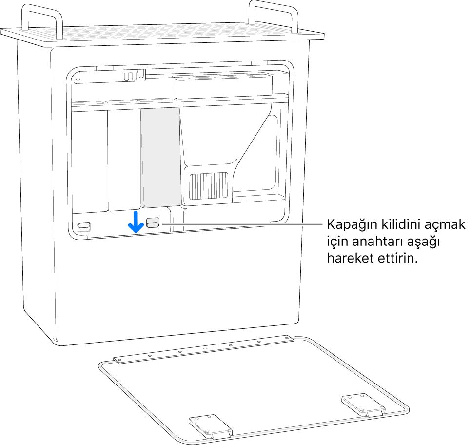 Mac Pro bir kenarında duruyor ve DIMM kapağını açan anahtarlar vurgulanıyor.