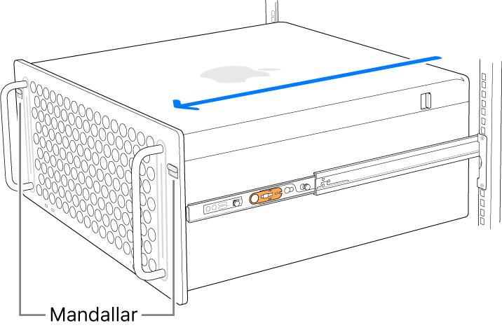 Mac Pro, bir rafa takılmış raylara duruyor.