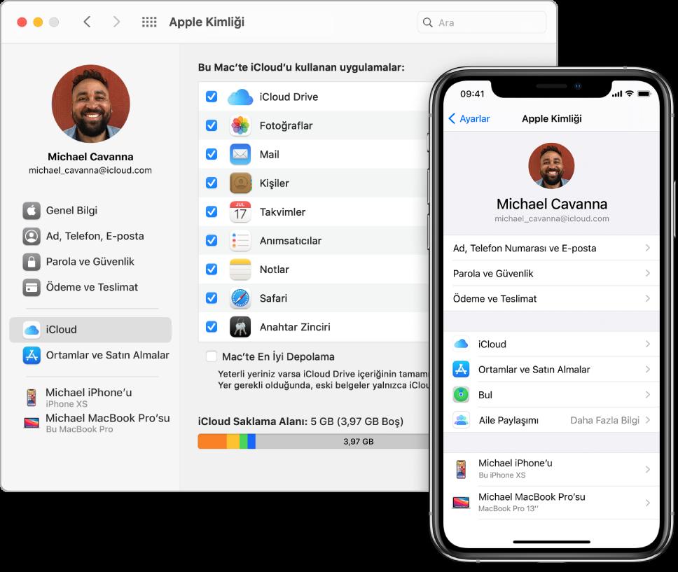 iPhone'da iCloud ayarları ve Mac'te iCloud penceresi.