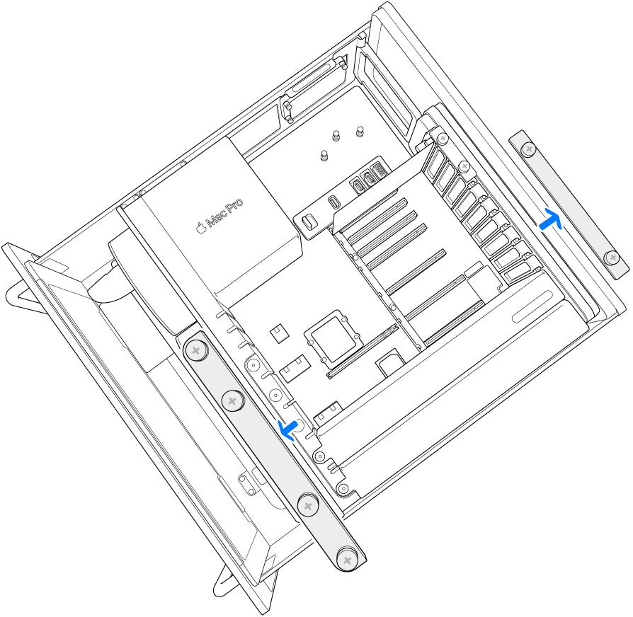 Mac Pro'da kelepçe plakalarının nasıl çıkarıldığı gösteriliyor.